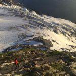 Glacier view near Albert I hut Mont Blanc region Chamonix