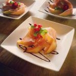 Melon with raw ham starter, food at Bekker Chalet