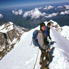 The Bosses ridge towards the Mont Blanc summit