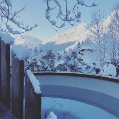 houtgestookte hottub in de sneeuw